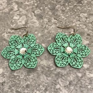 Filigree Flower Earrings with a Crystal Center